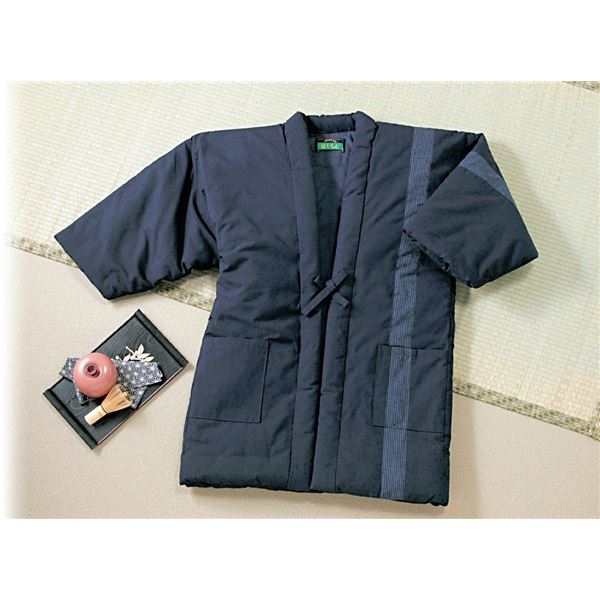久留米織ロング半纏(半天) 【紳士用/M〜LLサイズ】 表地:綿100% 両脇ポケット付き 日本製 紺
