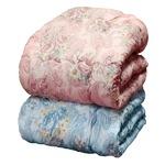 羊毛キルト加工掛け布団 【ダブルサイズ】 ニュージーランド産 花柄 日本製 ブルー(青)