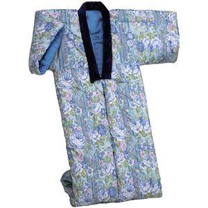 綿混わた入りかいまき布団 幅130cm×長さ185cm 日本製 ブルー(青) (防ダニ効果) - 拡大画像