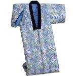 綿混わた入りかいまき布団 幅130cm×長さ185cm 日本製 ブルー(青) (防ダニ効果)