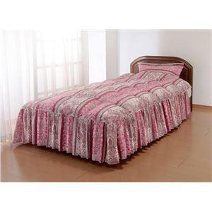 やわらかフェザーフリル付きベッド布団 シングルピンク(枕カバー付き) - 拡大画像