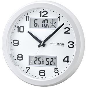 夜間点灯電波時計ダブルスライトパールホワイト - 拡大画像