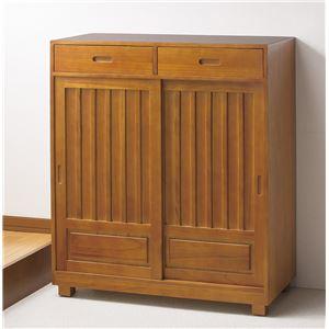 天然木和風引き戸シューズボックス2枚扉