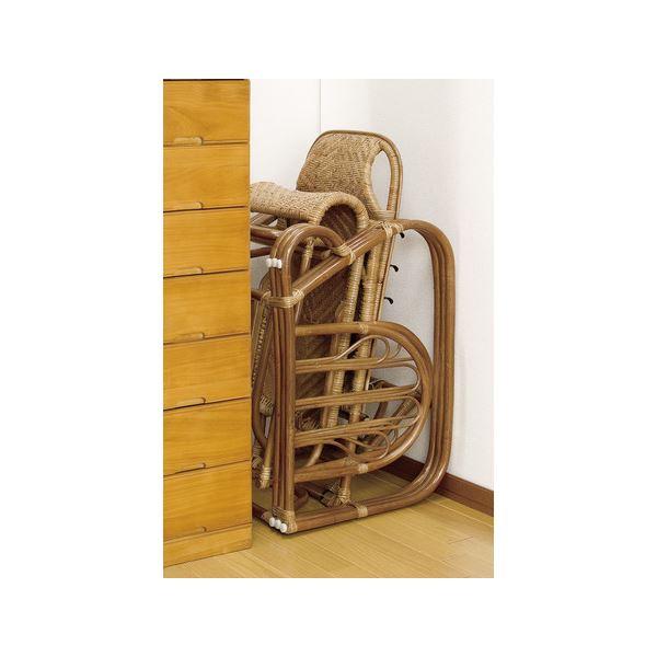折りたたみリクライニングチェア(天然籐椅子) フットレスト/肘付き 【完成品】