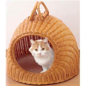 天然籐製キャットハウス/猫ハウス 【ちぐらタイプ】 クッションシート/持ち手付き カバーのみ手洗い可 - 拡大画像