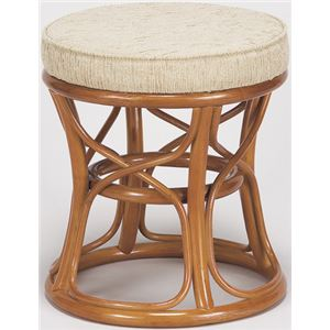 天然籐スツール/丸型椅子 【小】 座面高:35cm クッション付き RH-771 【完成品】 - 拡大画像