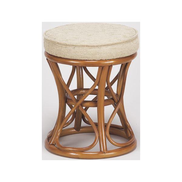 天然籐スツール/丸型椅子 【中】 座面高:40cm クッション付き RH-772 【完成品】
