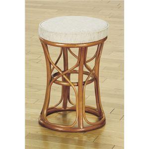 天然籐スツール/丸型椅子 【大】 座面高:47cm クッション付き RH-773 【完成品】 - 拡大画像
