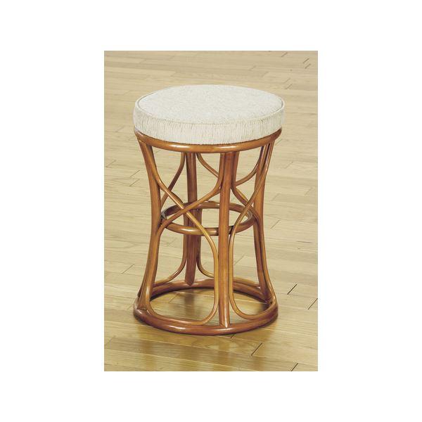 ちょっと腰かけるのに便利な「天然籐スツール/丸型椅子 【大】 座面高:47cm クッション付き RH-773 【完成品】」