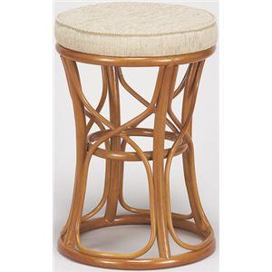 天然籐スツール/丸型椅子 【大】 座面高:47cm クッション付き RH-773 【完成品】