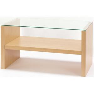 強化ガラスセンターテーブル/ローテーブル 【幅90cm】 ディスプレイ収納棚付き ナチュラル