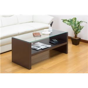 強化ガラスセンターテーブル/ローテーブル 【幅90cm】 ディスプレイ収納棚付き ダークブラウン - 拡大画像