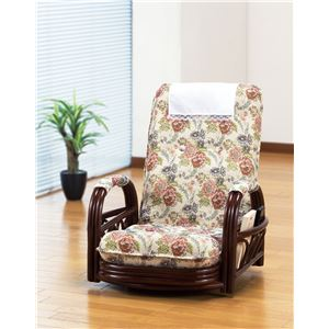 天然籐リクライニング回転座椅子 ロータイプ - 拡大画像