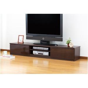 鏡面仕上すっきり収納テレビボード150cm幅 鏡面ブラウン - 拡大画像