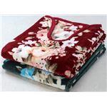 衿ぐりニューマイヤー毛布/寝具 【2色4枚組 シングルサイズ/グリーン・ワイン×2】 洗える ポリエステル100%