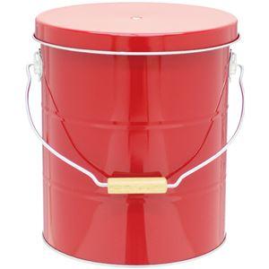 ライスストッカー/米びつ 【赤 10kg×1】 高気密仕様 防虫剤使用可 計量カップ フタ フック付きき トタン製 『オバケツ』 - 拡大画像
