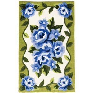 花柄カービング玄関マットグリーン50×80cm
