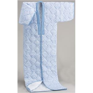 【日本製】国産かいまきふとんブルー系 シングル 綿100%ガーゼ - 拡大画像