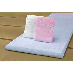 ジャカード織ワンタッチタオルシーツ3色組ブルー・ピンク・ホワイト シングル 泉州産 - 拡大画像