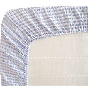 先染め綿サッカーボックスシーツ 同色2枚ブルー シングル