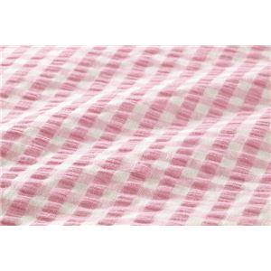 先染め綿サッカーボックスシーツ 同色2枚ピンク ダブル