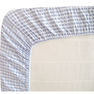 先染め綿サッカーボックスシーツ 同色2枚ブルー ダブル
