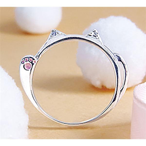 ダイヤモンド招き猫リング/指輪 【13号】 シルバー925 ダイヤモンド約0.02ct 日本製