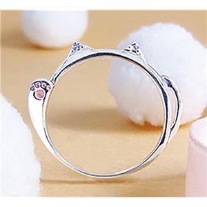ダイヤモンド招き猫リング/指輪 【17号】 シルバー925 ダイヤモンド約0.02ct 日本製 - 拡大画像