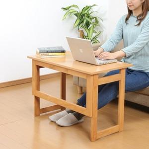 木製 折りたたみテーブル/補助机 【高さ55cm ブラウン】 幅80cm 木目調 【完成品】 - 拡大画像