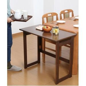 木製 折りたたみテーブル/補助机 【高さ69cm ブラウン】 幅80cm 木目調 【完成品】 - 拡大画像