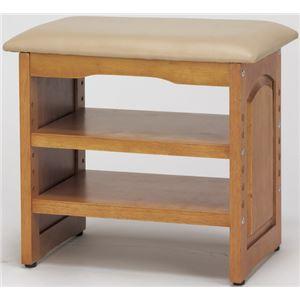 収納付き 玄関ベンチ/腰掛け椅子 【幅45cm】 木製 クッション座面 ガタつき防止付き - 拡大画像