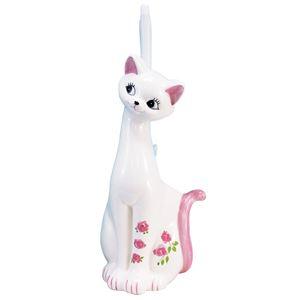 かわいいネコのトイレブラシ立てピンク