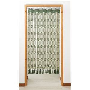 開閉式マクラメのれん(伸縮ポール付)グリーン 85×150cm