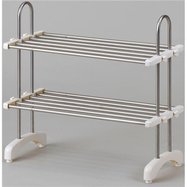 伸縮式 キッチン整理棚/キッチン収納 【幅50cm〜83cm】 ステンレス製 棚板2枚付き 高さ調整可 〔台所〕
