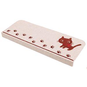 吸着式 階段マット 15枚組 【ネコ柄】 約55cm×21cm 日本製 折り曲げ部分付き 洗える 防滑 消臭機能 防キズ 防汚効果 - 拡大画像