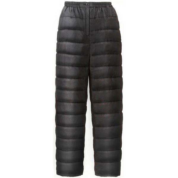 ふわふわダウン あったかパンツ 【ブラック 3L-4L】 男女兼用タイプ 両脇ポケット付き 洗える 〔防寒着 冬支度 寒さ対策〕