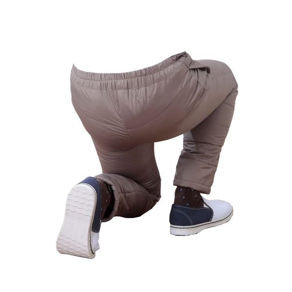 ふわふわダウン あったかパンツ 【ライトブラウン 3L-4L】 男女兼用タイプ 両脇ポケット付き 洗える 〔防寒着 冬支度 寒さ対策〕
