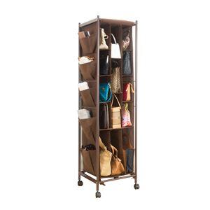 バッグ収納ラック/鞄収納棚 【3列 ブラウン】 幅40cm カーテンカバー・ポケット・キャスター付き