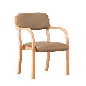 立ち座りサポートチェア/椅子 【ブラウン 2脚組】 肘付き スタッキング可 張地:合成皮革/合皮 〔業務用 家庭用 オフィス〕