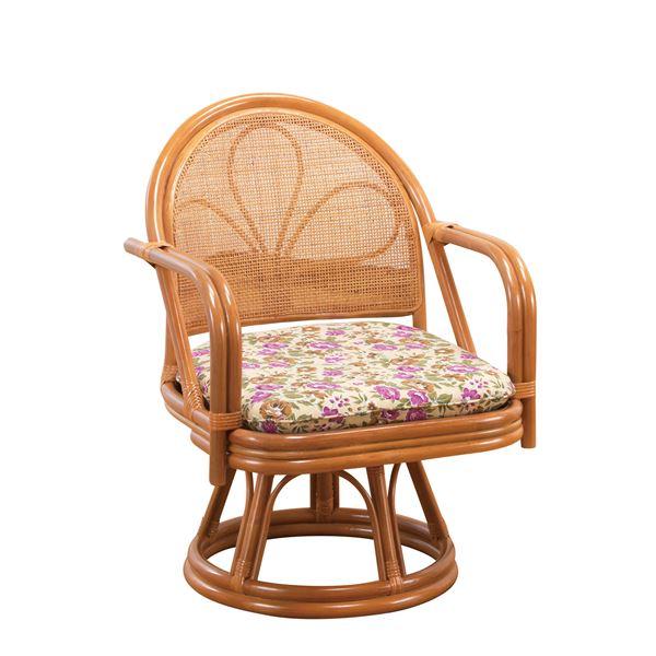 ゆったり座れる「天然籐 座椅子/回転チェア 【ミドルタイプ】 肘付き ボリュームクッション」