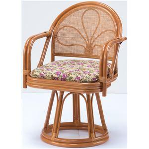 天然籐 座椅子/回転チェア 【ハイタイプ】 肘付き ボリュームクッション