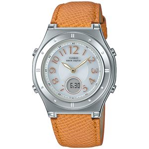 【CASIO カシオ】 婦人用 電波ソーラー時計/腕時計 【イエロー系】 レディース 革ベルト 日付表示・時刻合わせ不要