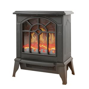 暖炉型 ファンヒーター/暖房器具 【ブラック】 幅36.5cm 速暖タイプ 温度過上昇防止装置 転倒時自動OFF 〔リビング ダイニング〕 - 拡大画像