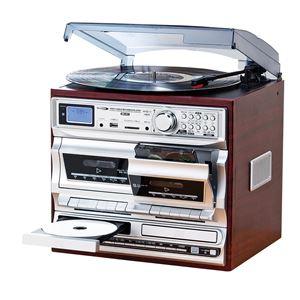 多機能音楽プレーヤー 【幅32.5cm】 レコード CD カセット ラジオ 『マルチダブルオーディオレコードプレイヤー』 - 拡大画像