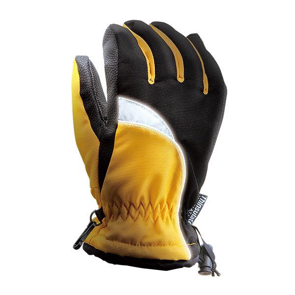 完全防水防寒手袋 2枚組 【イエロー LL】 ワンタッチ絞り付き 撥水 『ホットエースプロ』 〔通勤 通学 アウトドア〕