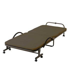 収納式リクライニングベッド(メッシュ生地)ブラウン