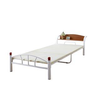 木製棚付きパイプベッド シングル(引出しなし) ホワイト - 拡大画像