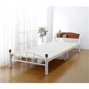 木製棚付きパイプベッド シングル(引出しなし) ホワイト