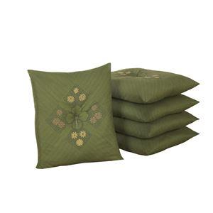 銘仙判座布団5枚組グリーン 55×59cm(白カバー5枚付き) - 拡大画像