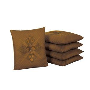 銘仙判座布団5枚組ブラウン 55×59cm(白カバー5枚付き) - 拡大画像